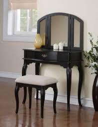 249 99 bedroom tri folding mirror wooden makeup vanity table drawer set w bench black vanities makeup tables