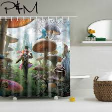 papa mima alice in wonderland waterproof shower curtains polyester bathroom curtains with hooks 150x180 180x180cm decorative