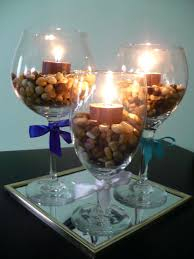 fill glasses with rocks stones oversized wine glass centerpiece centerpieces