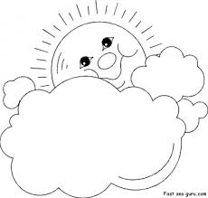 Small Picture Prinable Sun and Clouds Frame coloring page Printable Coloring