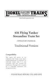 Lionel Traction Tire Chart Lionel Corp 616 Flying Yankee Streamline Train Manualzz Com