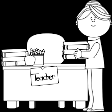 desk clipart black and white. black and white teachers putting books on desk clipart k