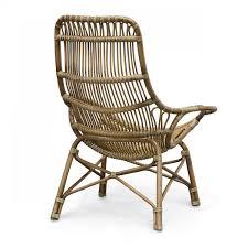 Palecek Retro Rattan High Back Lounge Chair
