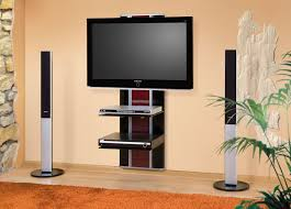 tv wall mount with glossy stand and stand tower speakers