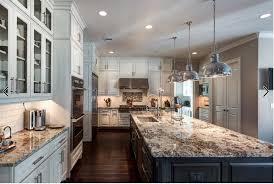 Love The Off White Cabinets Dark Island And Granite Backsplash
