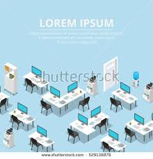 isometric office furniture vector collection. Flat Isometric Interior Background With Furniture And Office Equipment Vector Illustration. 3d Isometry Business Collection I