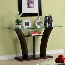 modern sofa table. Glass Sofa Tables Contemporary Astounding Design Dark Walnut Lacquered Finish Curved Fiberboard Legs Shelf Combined Clear Rectangle Top Decoration Modern Table