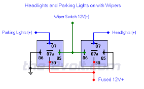 and parking lights on wipers positive input positive output relay diagrams headlights and parking lights on wipers positive input positive output