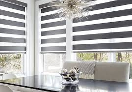 motorized roller shades. Sheer Shade With Motorized Option In A Dining Room Setting. Roller Shades -