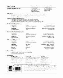 Theatre Resume Template Word Cool Theater Resume Template Theater Resume Template 28 Free Word Pdf