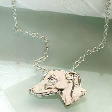greyhound head pendant in sterling silver