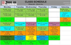 Class Schedule Zhang Sah Martial Arts