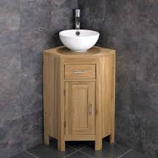 medium 570mm oak corner vanity round
