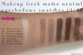 makeup geek neutral matte eyeshadows white lies confection petal pusher unexpected