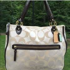 Coach Bags - COACH POPPY Monogram Large Tote w LEATHER. WOW😱!