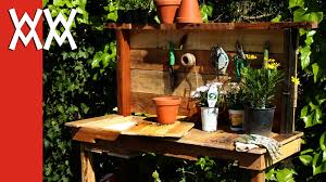 make a rustic potting bench diy project using upcycled wood and limited tools you