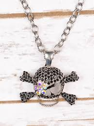necklaces short chunky black crystal skull on silver chain necklace with ab flower