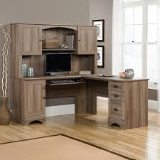 Sauder Harbor View L-Shaped Computer Desk with Optional Hutch | Hayneedle