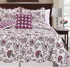 purple paisley coverlet king set white vibrant color floral geometric white coverlet king63