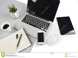 office desk laptop computer notebook mobile. Royalty-Free Stock Photo. Download Office Table With Laptop Computer, Notebook Desk Computer Mobile