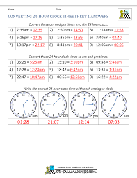 Quarter Hour Time Conversion Chart 24 Hour Clock Conversion Worksheets