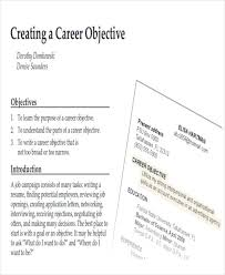 Objective Job Application 7 Career Objectives Sample Examples In Word Pdf