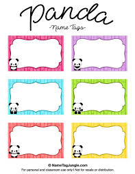 free printable panda name tags the template can also be used for creating items like