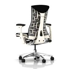 white frame office chair. Herman Miller White Frame \u0026 Aluminium Base, Black Rhythm Fabric Office Chair