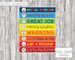 Behavior Chart For Kids Digital Childrens Chart Monitor Childrens Behavioral Chart Digital Prints Printable Chart Clothespin Consequence