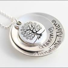 personalized gifts for grandma custom grandma necklace personalized silver necklace antique tree of life stacked necklace with names