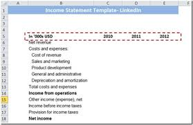 Income Statement Format Excel Learn To Develop Income Statement Template In Excel Edupristine