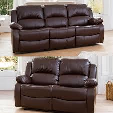 oakham 3 plus 2 seater bonded leather sofas brown