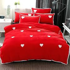 pink heart bed sheets warm duvet cover set fleece fabric bedding sets include