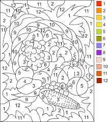 color by numbers fruit and veggies