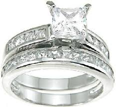 discount diamond wedding ring sets. amazon.com: princess cut white cz wedding band engagement ring set in 925 sterling silver: jewelry discount diamond sets i