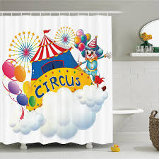 circus decor shower curtain set ilration of a circus above the clouds fireworks entertainer comedian bathroom accessories