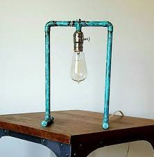 etsy industrial lighting. items similar to simple copper pipe lamp green patina on etsy industrial lighting
