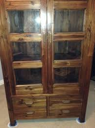 solid oak bookcase display cabinet with glass doors for