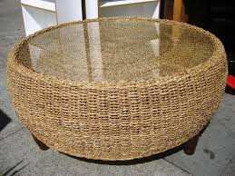 wicker coffee table with glass top image and description