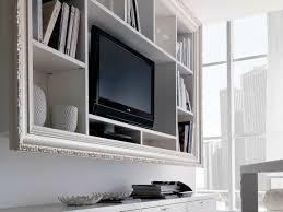 large rectangular wall mounted media shelving unit and tv stand shelf
