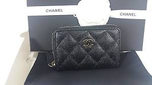 chanel zip pouch. nwt 2017 chanel classic black quilted caviar coin pouch zip around wallet w/box chanel