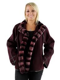 woman s berry cashmere wool jacket with rex rabbit fur trim