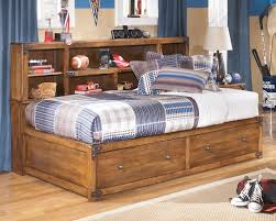 Delbume Medium Brown Twin-Full Size Storage Headboard Wood Daybed ...