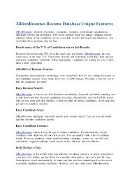 ZillionResumes Resume DatabaseUnique Features ZillionResumes' network of  partners, companies, recruiters, professional org ...