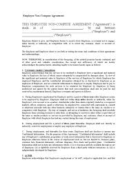 Non Compete Agreement Legalforms Org