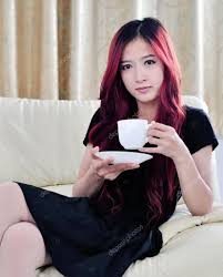 Asian Women Hair Style beautiful asian women with red long hair drinking coffee stock 8649 by stevesalt.us