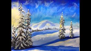 winter landscape step by step acrylic painting on canvas for beginners