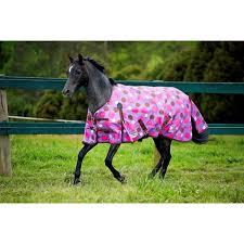 original 600d pony standard neck lite turnout rug purple pink polka dot