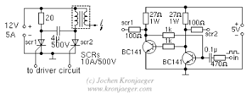 jochen s high voltage page ignition coils ignition coil circuit using scrs the driver circuit to the right takes a standard square wave about 5v peak and produces the two signals needed to switch