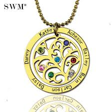 womens gold necklace custom name engraved stone necklaces vintage jewelry chain family tree of life pendant